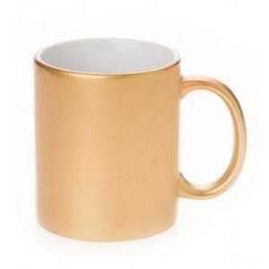 Tazas de cerámica dorada 11oz