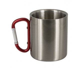 Stainless steel mug with carabiner handler (10oz)