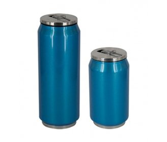 Blue stainless steel termo with straw