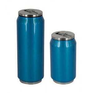 Vaso termo azul de acero inoxidable con pajita