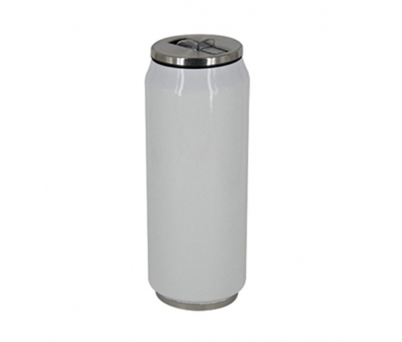 White stainless steel termo with straw