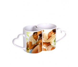 Couple ceramic mugs with handle heart