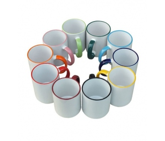 Customizable ceramic mugs with edge and handle color HIGH QUALITY (A)