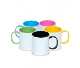 Plastic mug with colorful inside and clamp