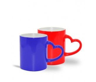 Magic mugs with heart handle (various colors)