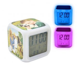 Sublimation alarm clock with color light