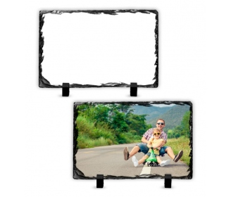 14 x 8,5 cm rectangular rock slate photo frame