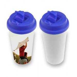 Vaso de plástico con tapa (varios colores)