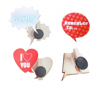 Wooden magnets with clip (wood color, 5 units pack)