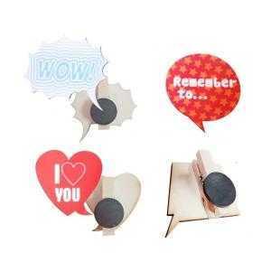Aimants en bois avec clip (couleur du bois, paquet de 5 unités)
