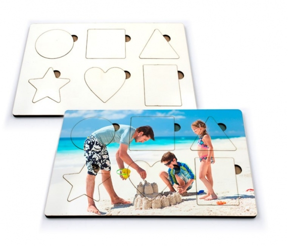 Didactic game of geometric shapes of 6 pieces
