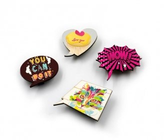 Wooden magnets with clip (5 units pack)