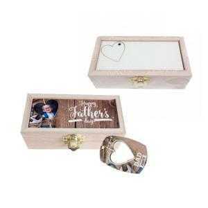 Cajas de madera con llavero rectangular y corazón extraible