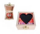 Wooden boxes with removable puzzle and heart key chains