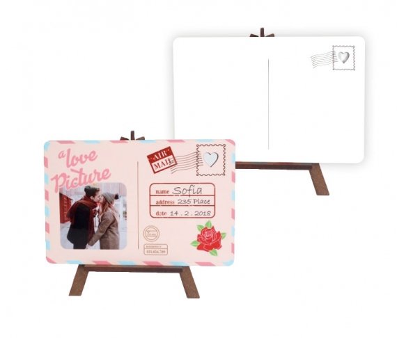 Easels with postal card