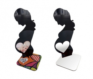 Female photo holder in black acrylic