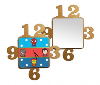 Square wooden watches with numbers