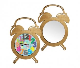 Wooden round clocks with alarm clock shape