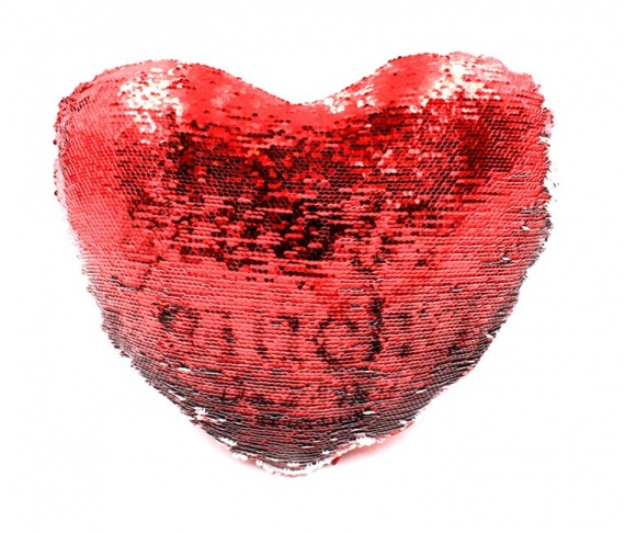 Reversible sequin heart cushion covers