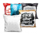 Reversible sequin cushion covers