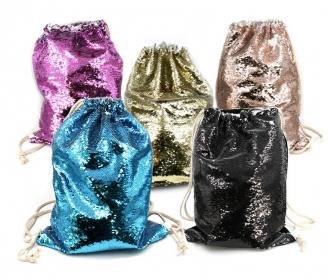 Reversible sequin backpack bag