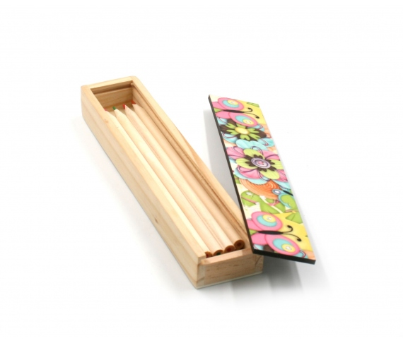 Wooden cases with colored pencil