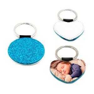 Porte-clés simili cuir bleu avec paillettes (différentes formes)