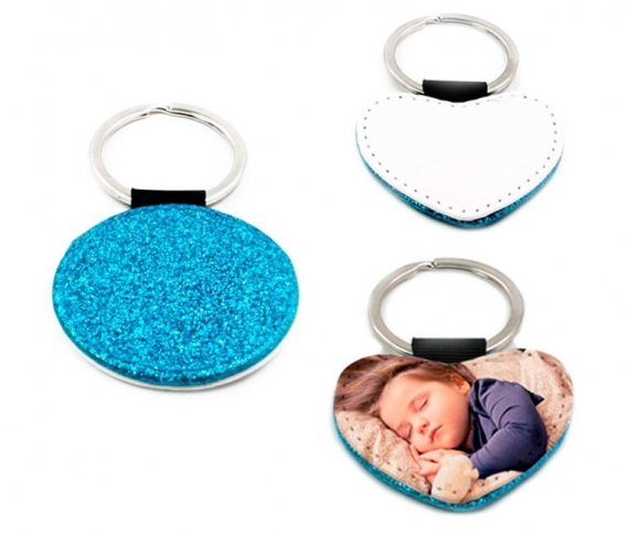 Blue leatherette keychains with glitter (various shapes)