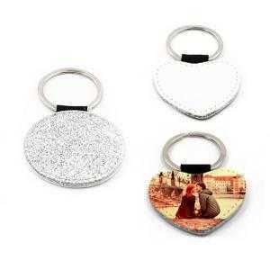 Porte-clés simili cuir argent avec paillettes (différentes formes)