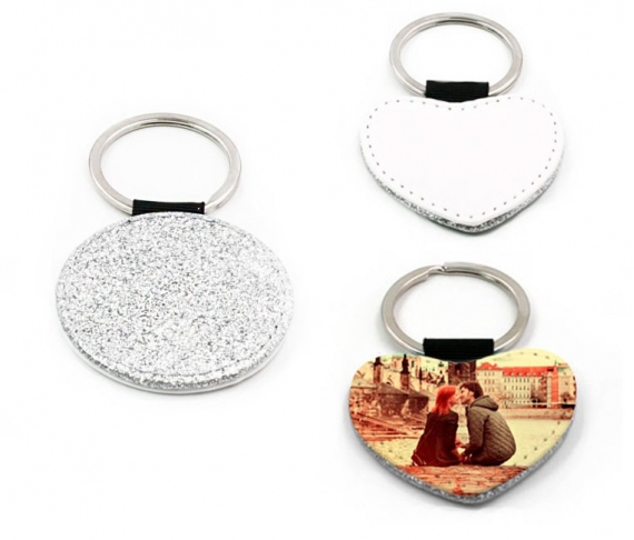 Silver leatherette keychains with glitter (various shapes)