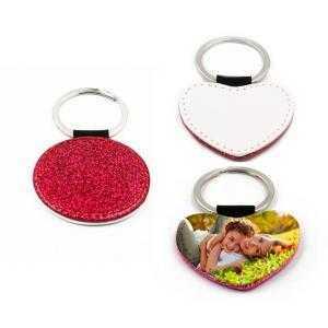 Porte-clés simili cuir rose avec paillettes (différentes formes)