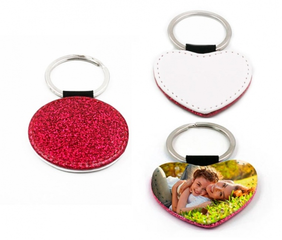Pink leatherette keychains with glitter (various shapes)