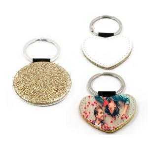 Porte-clés simili cuir doré avec paillettes (différentes formes)