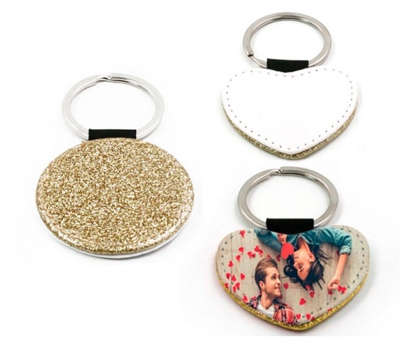 Gold leatherette keychains with glitter (various shapes)