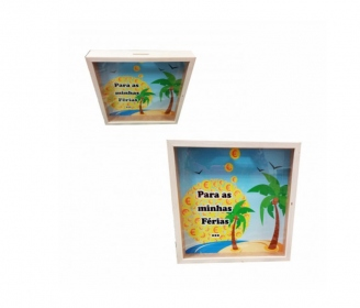 Wooden money box with frame shape