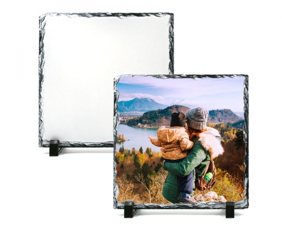 20 x 20 cm Square rock slate photo frame