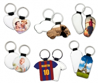 Leatherette key chains (various shapes)