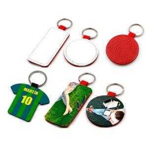 Porte-clés en similcuir rouge (différentes formes)