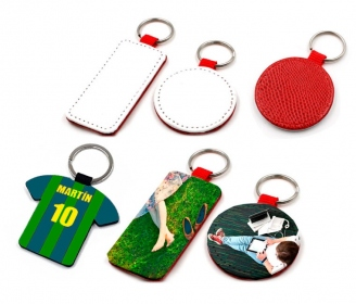 Red leatherette keychains (various shapes)