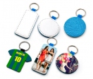 Blue leatherette keychains (various shapes)