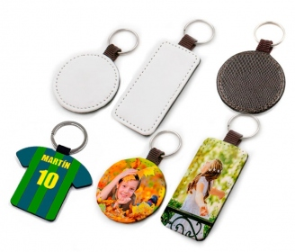 Brown leatherette keychains (various shapes)
