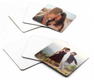 Square cardboard coasters with cork base - Pack of 6 pieces