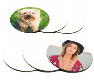 Round cardboard coasters with cork base - Pack of 6 pieces