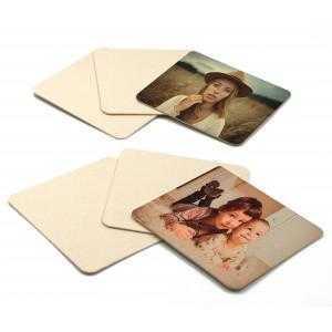 Sous-verres carré carrés en carton naturel - Paquet de 6 pièces