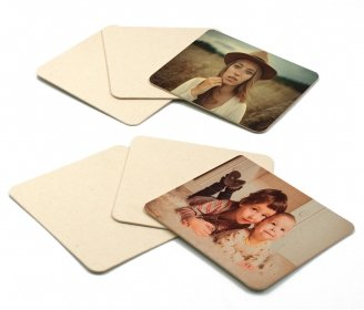 Square natural cardboard coasters - Pack of 6 pieces