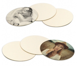 Round natural cardboard coasters - Pack of 6 pieces