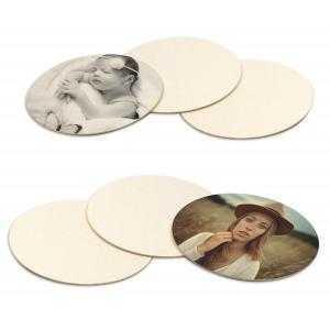 Sous-verres carré ronds en carton naturel - Paquet de 6 pièces