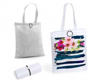 Folding shopping bag with rubber