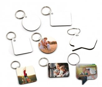 Wooden keychains 2-sided (various shapes)