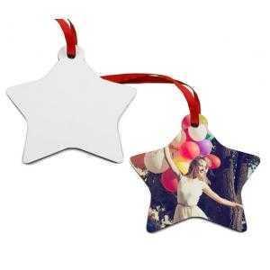 Adornos estrella de navidad de madera (2 caras)